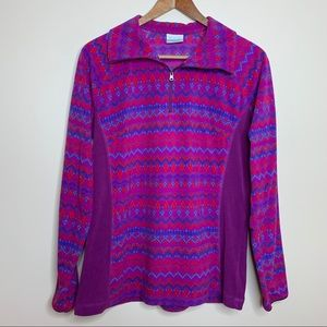 Columbia Purple Red Aztec Geo Fleece Pullover